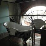 mezzanine bathroom with amazing views over the river.