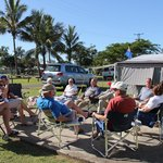 Friends gathering around a cuppa at Bargara Beach Caravan Park