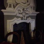 the fireplace in the restaurant