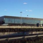 international Caravaggio airport across the street