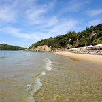 vista della bellissima spiaggia dorata aeneas'