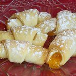 Apricot filled kifli; Hungarian butter & yeast rolls