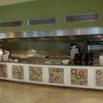 Gill area in the buffet, cook your omlets and dinner steaks etc to the way you