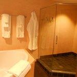 spa Jacuzzi bathroom; towels...bathrobes; all organic