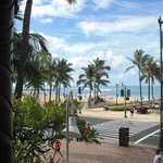 View of Waikiki Beach from porch of LuLu's Restaurant