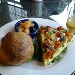 Veggie frittata with popovers.