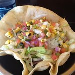 burrito salad in tortilla shell