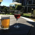 Great local wine and good beer in a beautiful garden in the sun