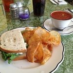 homemade chicken salad sandwich with homemade vegetable soup and chips!