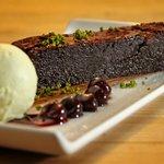 Valrhona Chocolate Brownie, Cherries and Pistachio Ice Cream