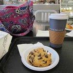 Yummy morning treat and vanilla latte