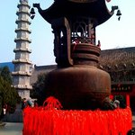 pilgrims ribbons  tied to temple urns for new years blessings ,Kaifeng A nn H