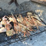 Lobster on Booby Cay Island cooked by Captain Clarke