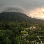 View of volcano from balconies (mostly clouded)