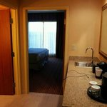 A flat-screen tv in each room! And a wet-bar, fridge, microwave, and coffee-ma
