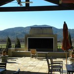 Outdoor patio for wine tasting at winery