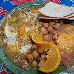 Huevos Ranchoros with green chile