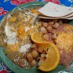 Huevos Ranchoros with green chile