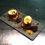 Pressed pork belly, apple chutney, black pudding, scotch egg..