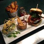 Homemade beef burger, buffalo mozzarella, sunkissed tomato & smoked bacon..