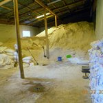 Solid salt is beaten and granulated and keep in the storage in the village of Salinas