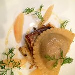 Seabass with Crab Ravioli