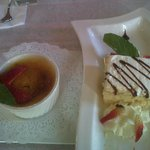 Our desserts - Tres Leches cake and Creme Brulee
