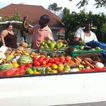 Ingrid our cook buying our fresh produce. the truck came to our villa every 3