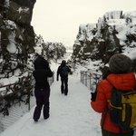 Walking through the Thingvellir National Park,