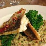 gurnard, chilli, crab& barley risotto & ka