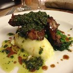 wild boar, creamed( mashed) potatoes , sal
