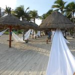 Wedding setup on the beach (the aisle)