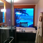 Soaker tub with view of the ocean