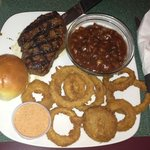 sirloin onion rings and baked beans