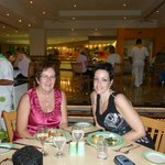 My mother and I eating super at the main dining area