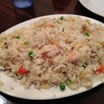 friend rice with shrimp, chicken, and pork