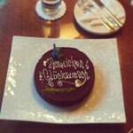 Birthday cake from the staff at The Regent
