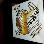 fried cheesecake with chocolate sauce