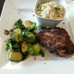 Blackened Maui Maui with sauté Brussels sprouts and Couscous