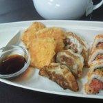 the D-boat: Yam tempura, Gyoza, Hurricane Rolls