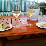 wine and cheese by fire and enjoying the beach at the same time