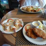 Crab Stuffed Shrimp and Conch Fritters, must try!