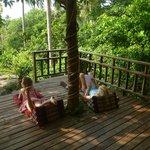 Chilling on the verandah