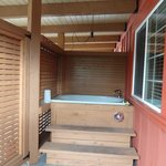 Our deep soaking tub on porch