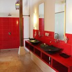 Shikumen Suite has spacious bathroom with 2 hand basins & large shower.