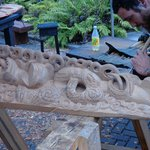 wood carving at cultural village Routoura