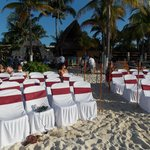 Set-up for beach-side ceremony