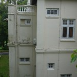 Outside view of delapidated state of room 202
