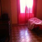 Vista do quarto, que não corresponde à foto do próprio hostel