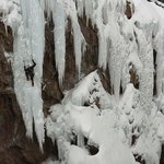 "Jacek Czyz of Poland climbing ""Fight  Club"" in the Ouray Ice Park"